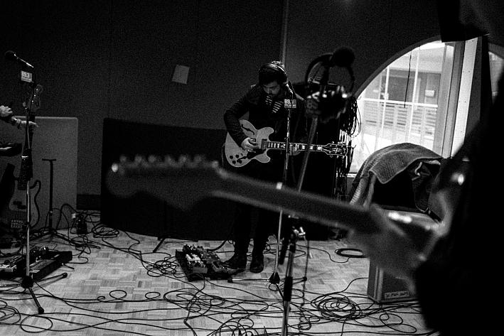 The Colourist's Adam Castilla tunes ahead of the live session in The Current's studio.