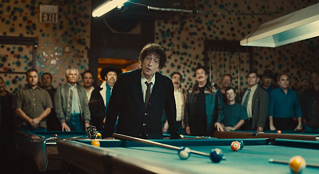 Bob Dylan casually playing pool in Chrysler's 2014 Super Bowl ad