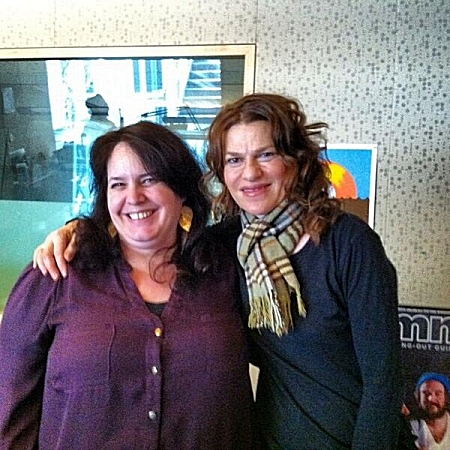Comedian Sandra Bernhard and host Barb Abney in The Current studios.