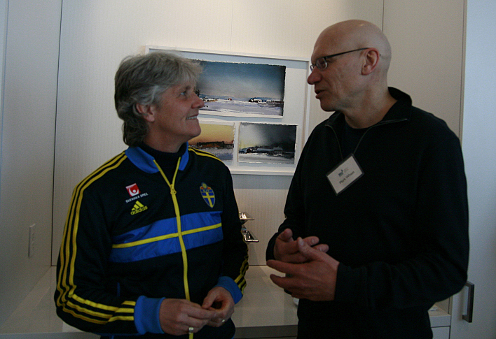 Sweden Women's Soccer Team Coach Pia Sundhage chats with The Current's Mark Wheat at the American Swedish Institute in Minneapolis.