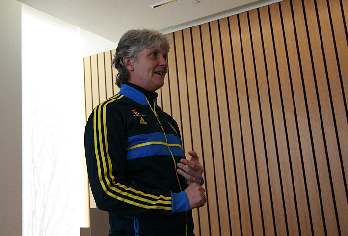 Pia Sundhage, coach of Sweden's National Women's Soccer Team, addresses an audience at the American Swedish Institute in Minneapolis.