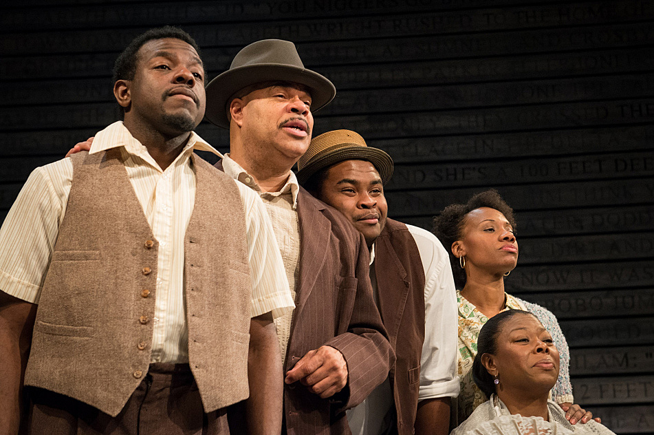 """Mikell Sapp, T. Mychael Rambo, H. Adam Harris, Sha Cage and Greta Oglesby in """"The Ballad of Emmett Till"""" at Penumbra Theatre."""