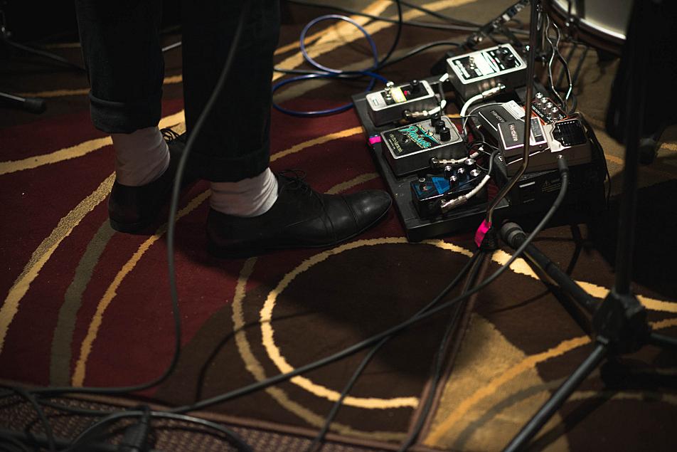 Lucius multi-instrumentalist Andrew Burri's effects pedals.