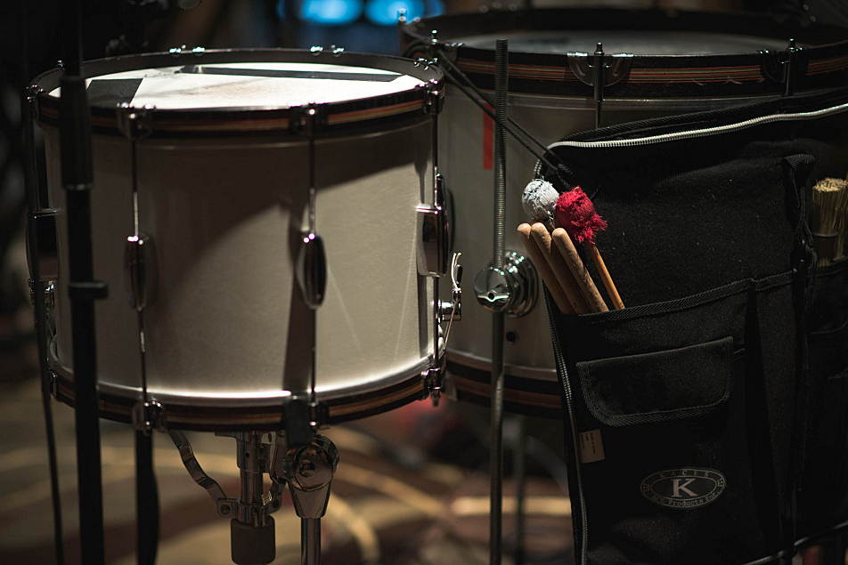 Lucius drummer Dan Molad's drums and sticks set up in the Forum at MPR.