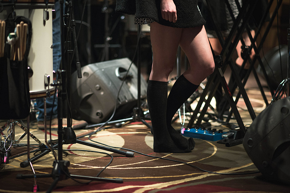 Lucius singers Holly Laessig and Jess Wolfe take a page from Mark Wheat's in-studio style notebook (socks and no shoes).