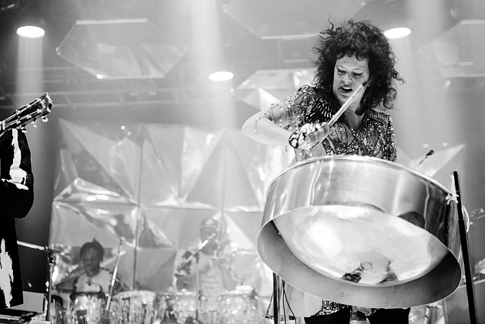 Regine Chassagne on steel drums