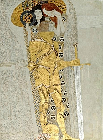 A well-known section of Klimt's Beethoven Frieze. It features an armored knight and two women; the knight represents strength, and the women embody ambition and sympathy.