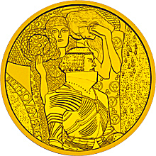 The Austrian 100 Euro Secession Coin, minted on November 10, 2004. The back (shown here) features figures from Klimt's Beethoven Frieze.