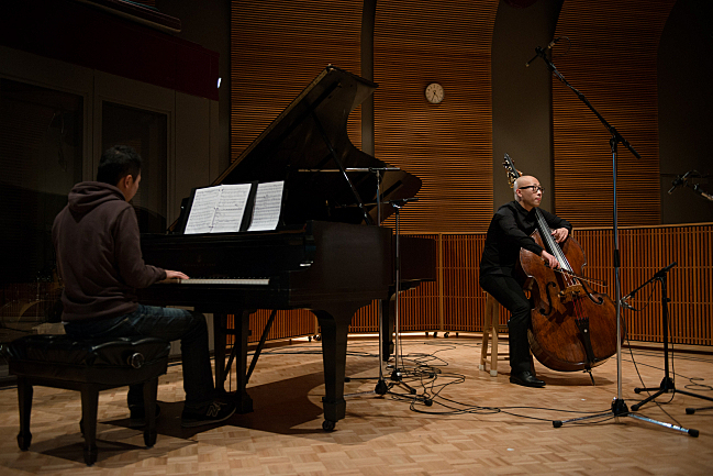 Double bassist TianYang Liu and pianist Keisuke Nakagoshi perform at the Maud Moon Weyerhaeuser Studio in St. Paul, MN