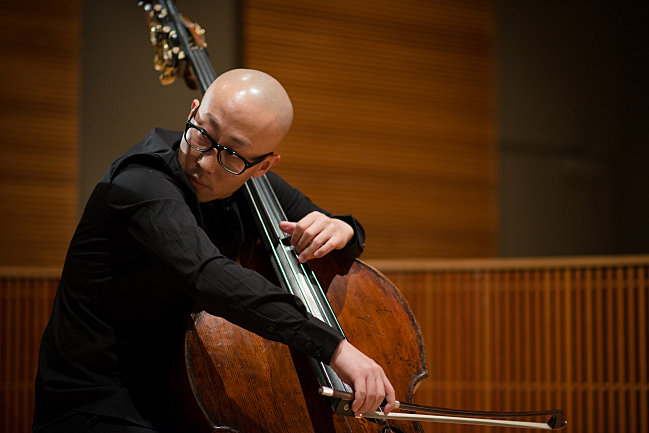 Double bassist TianYang Liu performs at the Maud Moon Weyerhaeuser Studio in St. Paul, MN