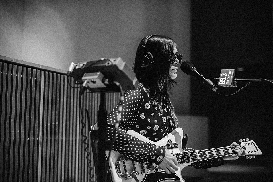 Jules of Dum Dum Girls with her Airline guitar.