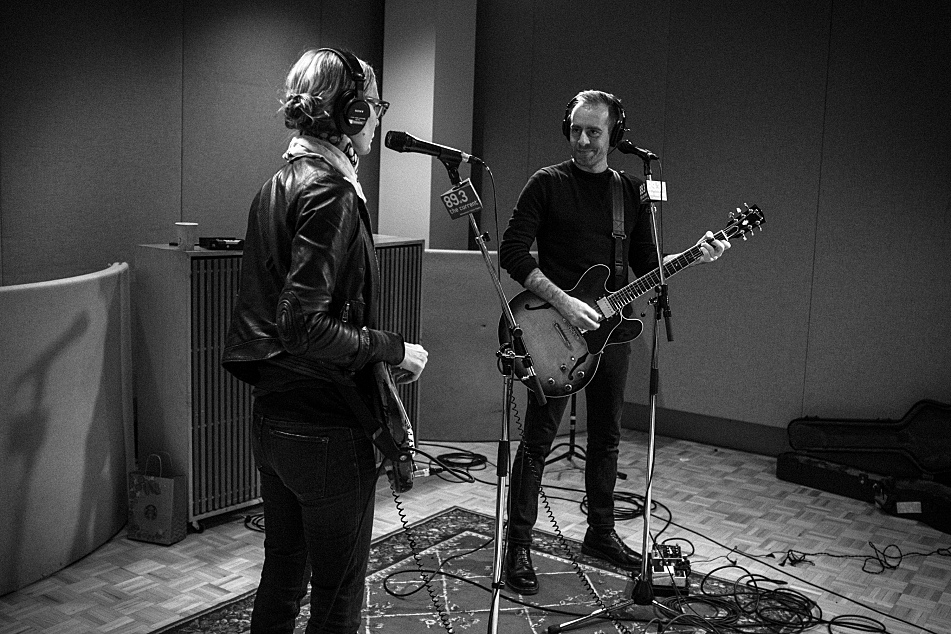 Aimee Mann and Ted Leo performing as The Both in The Current's studio.