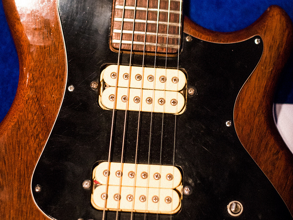 Close-up of Dan Rothman's Gretsch BST guitar -- with humbuckers.