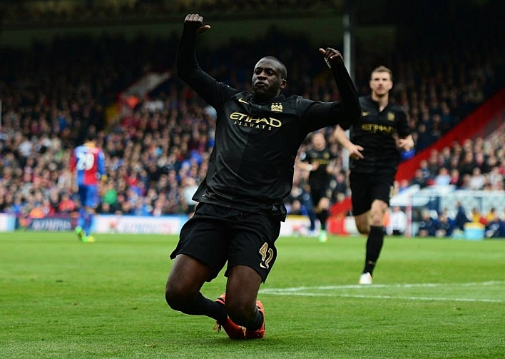 Yaya Toure of Manchester City celebrates scoring his team's second goal during the Barclays Premier League match between Crystal Palace and Manchester City at Selhurst Park.