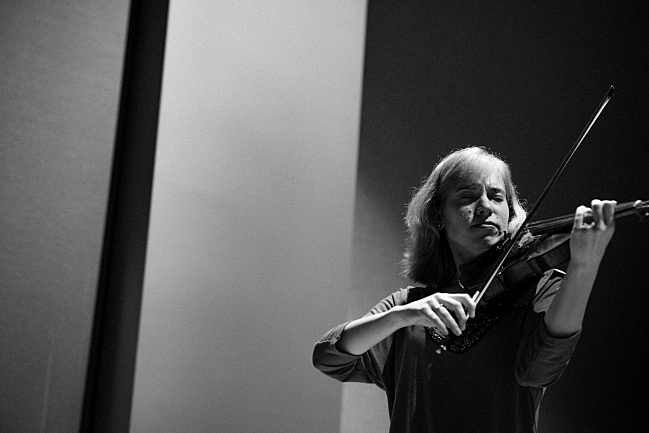 Violinist Robyn Bollinger performs at the Maud Moon Weyerhaeuser Studio in St. Paul, MN