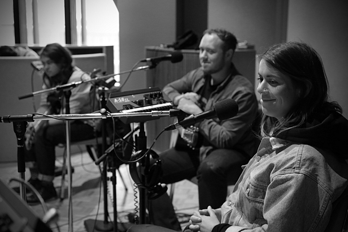 Ed Nash, Jamie MacColl and Liz Lawrence of Bombay Bicycle Club.