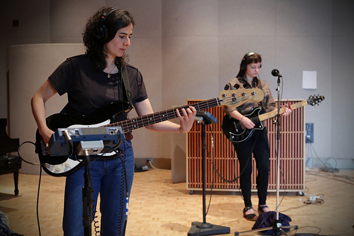 Bassist Emily Elhaj and Angel Olsen in The Current's studio