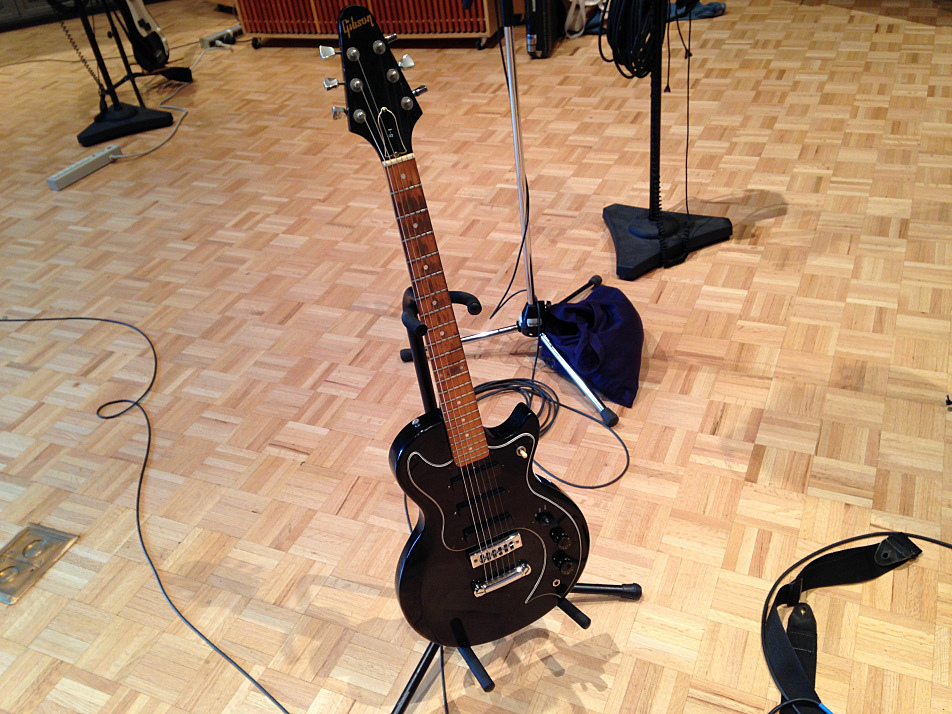 Angel Olsen's Gibson S-1 in its stand in The Current's studio.