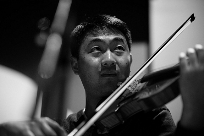 Violinist Boson Mo performs in the Maud Moon Weyerhaeuser Studio in St. Paul, MN