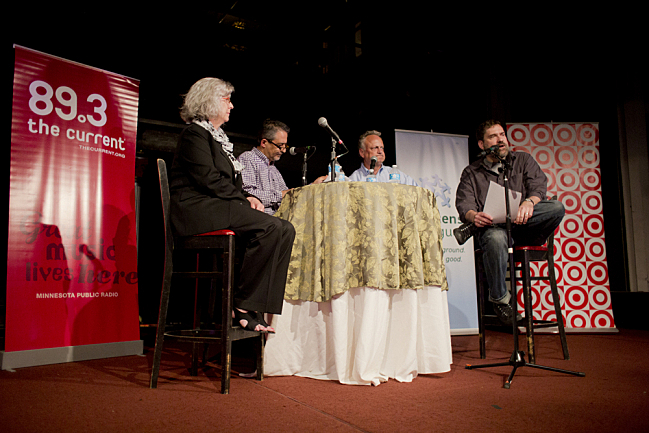 Dr. Deborah Bushway, Rassoul Dastmozd, Ph.D., Stephan Smith, and Steve Seel at Policy and a Pint: Unlearning Our Notions of Higher Education