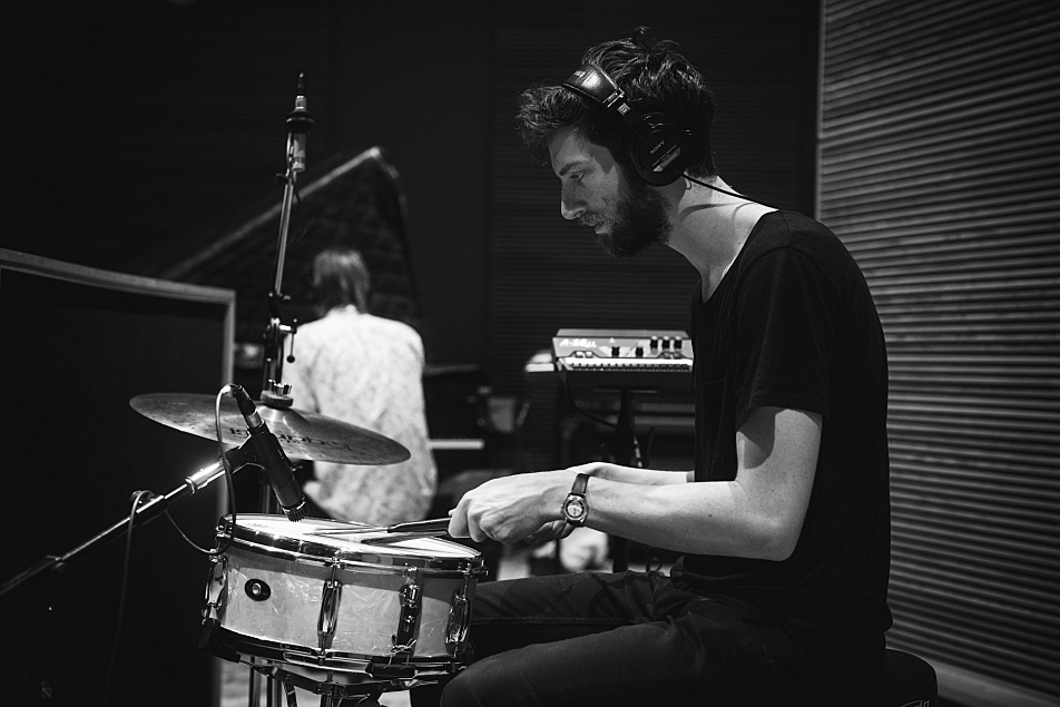 Drummer Niclas Lindstrom of First Aid Kit's touring band