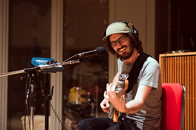 Bassist Bones Sloane performing live in The Current studio with Courtney Barnett.