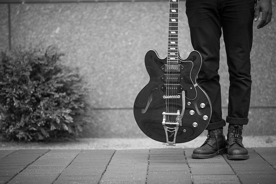 Benjamin Booker's Epiphone hollow-body guitar.