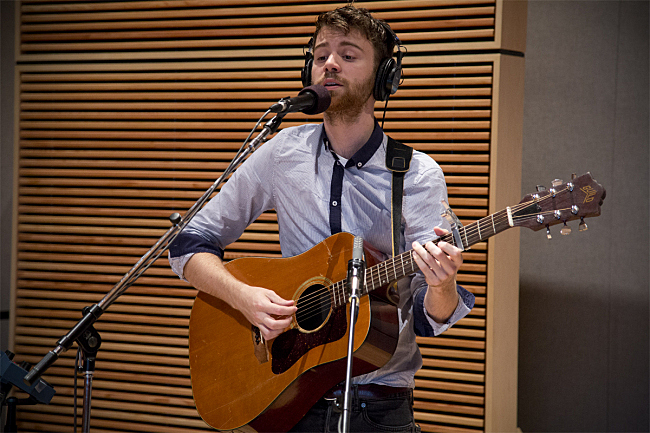 """John Mark Nelson performing """"Boy"""" live in The Current studio."""