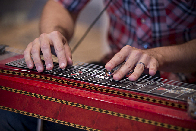 Aaron Fabbrini on the pedal steel guitar performing live in The Current studio with John Mark Nelson.