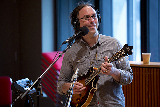 Matt Patrick, co-producer of <em>Sings the Moon</em>, performing live in The Current studio with John Mark Nelson.