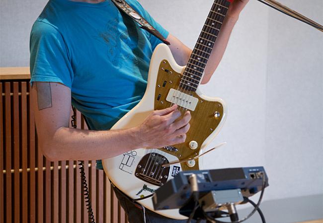 Jeremy Ylvisaker and his Squier Jazzmaster in The Current studio.
