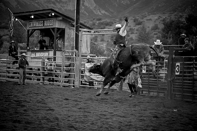 Bull riding at the Snowmass Rodeo