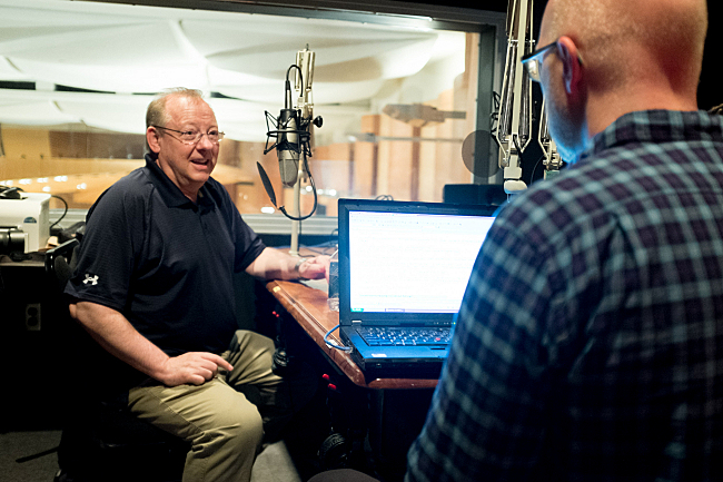 Fred Child interviews conductor Nicholas McGegan in the Halstead Studio at the Aspen Music Festival