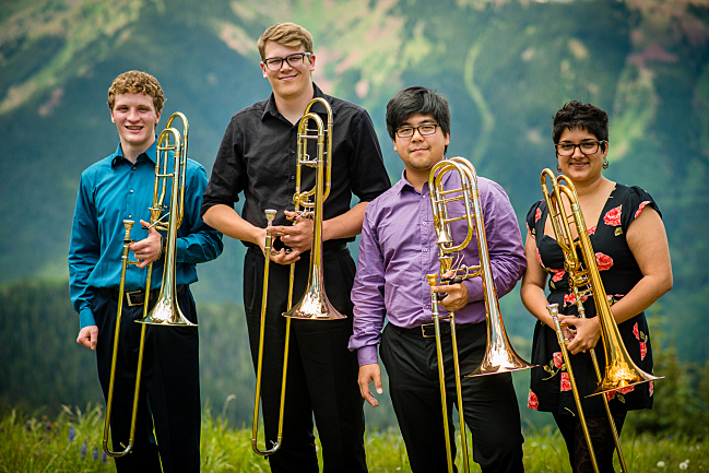 Trombonists Charles Dieterle, Colin Marusek, Taylor Fong, and Elena Grijalva