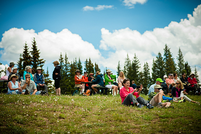 The audience for the trombone concert at the top of Aspen Mountain