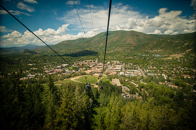 The gondola runs from the town of Aspen, Colo., to the top of Aspen Mountain