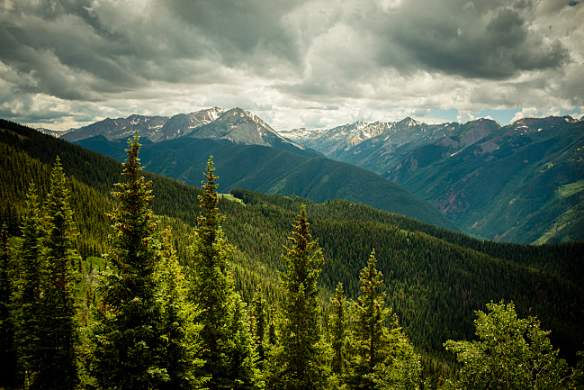 View of the Elk Mountains, from the top of Aspen Mountain in Aspen, Colo.
