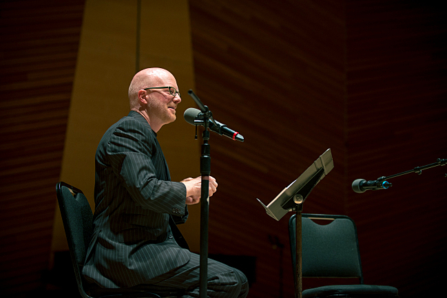 Host Fred Child onstage at Harris Concert Hall for 'An Evening with Performance Today' at the Aspen Music Festival and School