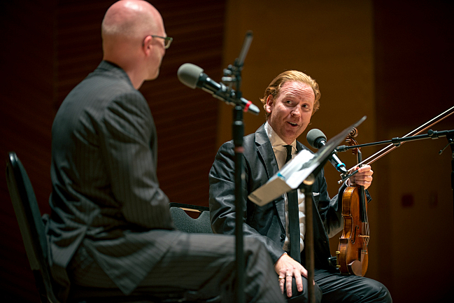 Fred Child with the evening's first guest, violinist Daniel Hope
