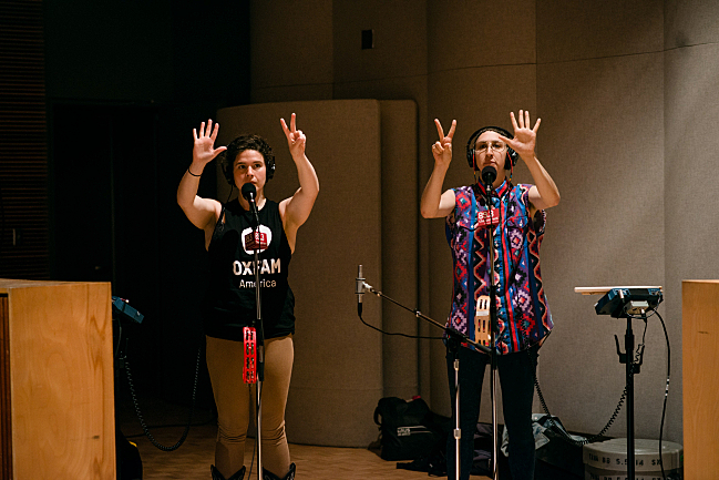 "Vocalists Abigail Bengson and Lo Lampert performing ""Hey Life"" complete with choreography live in The Current studio."