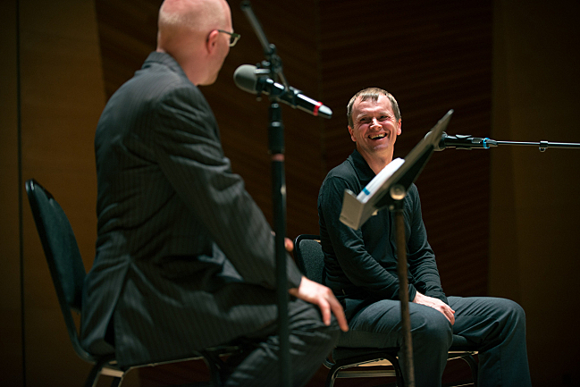 Host Fred Child talks with Scottish pianist Steven Osborne at Harris Concert Hall