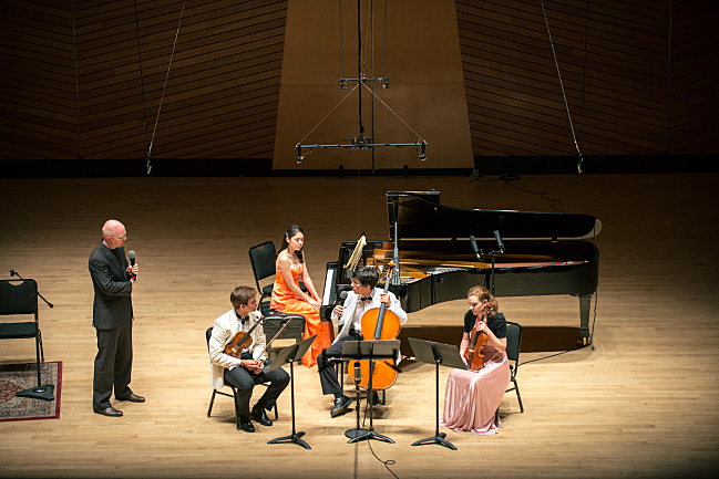 The final onstage guests for 'An Evening with Performance Today.' A student piano quartet from the Aspen Music Festival and School, featuring violinist William Hagen, pianist Carmen Knoll, cellist Zlatomir Fung, and violist Jossalyn Jensen.