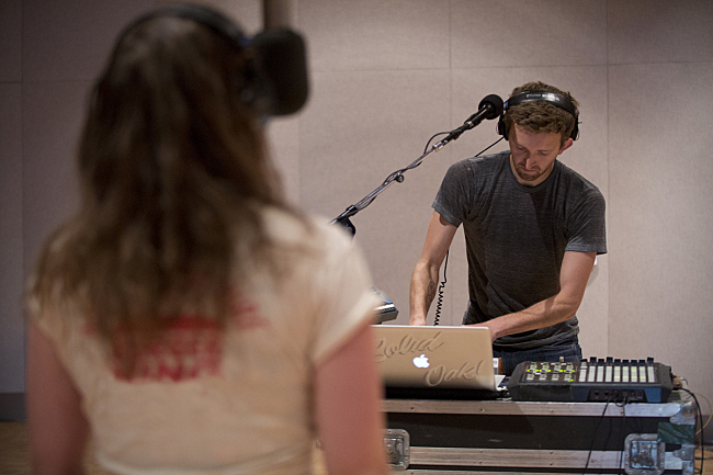 Nick Sanborn and Amelia Meath of Sylvan Esso performing live in The Current studio.
