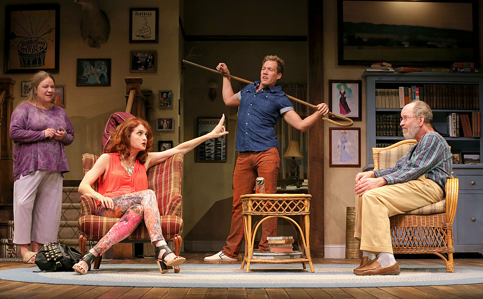 Suzanne Warmanen (Sonia), Candy Buckley (Masha), Joshua James Campbell (Spike) and Charles Janasz (Vanya) in the Guthrie Theater's production of 'Vanya and Sonia and Masha and Spike' by Christopher Durang and directed by Joel Sass.