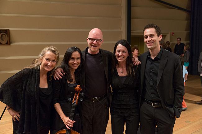 Violinist Eva Cappelletti Chao, cellist Amy Leung, PT host Fred Child, violinist Sarah Schwartz and violist Ben Ullery after the quartet's performance of Brahms' String Quartet No. 3.