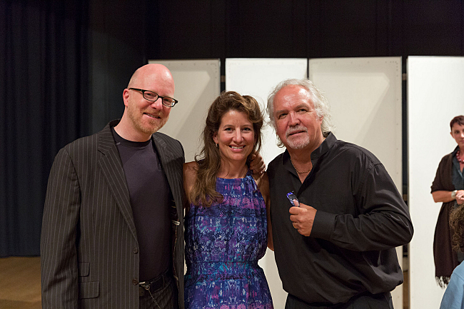 PT host Fred Child takes a photo with pianist Adelle Eslinger Runnicles and GTMF Music Director Donald Runnicles after their duo piano performance