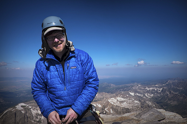 Fred on the summit of the Grand Teton, at 13,775 ft.