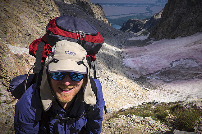 Fred nears the Lower Saddle, between the Grand Teton and the Middle Teton, at the end of a long hike on the first day