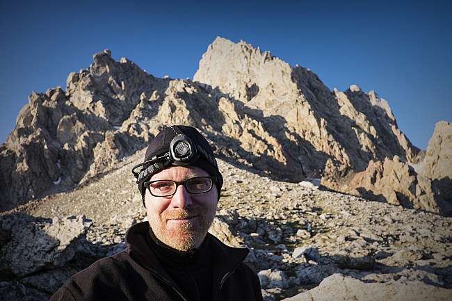 On the Lower Saddle for camp, at 11,600 ft. The Grand Teton looms behind.