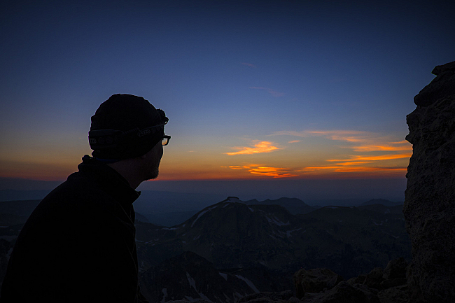 Fred enjoying the sunset from 11,600 ft, at the Lower Saddle.